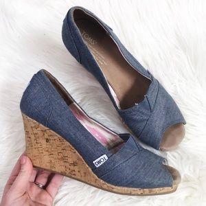 TOMS : 'Stella' Peep Toe Wedges Size 9.5